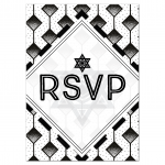 Modern Geometric Black and White Bar Mitzvah Response Card