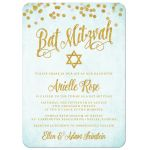 Aqua Blue & Gold Bat Mitzvah Invitations by The Spotted Olive