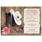 Cowboy boots, cowboy hat, and pink gerber daisy country and western barn wedding invitations