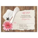 Cowboy hat, pink gerber daisy and barn wood country western wedding rsvp reply cards