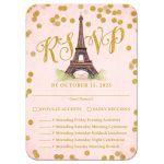 Paris Pink & Gold Bat Mitzvah RSVP Cards by The Spotted Olive
