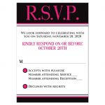 ​Trendy hot pink, black, and white modern typography Bat Mitzvah RSVP enclosure card insert with a bold painted brush strokes pattern in fuchsia pink.