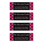 ​Modern black, white, and fuchsia pink return address mailing labels with a hot pink brush strokes pattern.