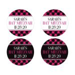 Personalized hot pink, black, and white modern typography Bat Mitzvah favor stickers or envelope seals with a bold painted brush strokes pattern in fuchsia pink.
