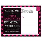 Trendy hot pink, black, and white modern typography Bat Mitzvah save the date postcard with a bold painted brush strokes pattern in fuchsia pink.