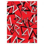 Bold black, white, and red modern typography Bar or Bat Mitzvah response enclosure card insert with a funky urban graffiti zig zag pattern.