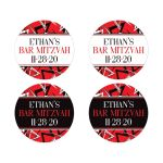Personalized red, black, and white modern typography Bat or Bar Mitzvah favor stickers or envelope seals with a bold urban graffiti zigzag pattern.