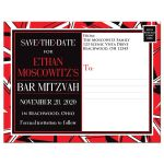 Black, red, and white modern typography Bar Mitzvah or Bat Mitzvah save the date postcard with a bold urban graffiti zigzag pattern.