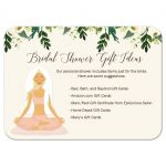 Yoga Bridal Shower Enclosure Card / Bridal Gift Registry Card