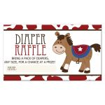 Western Horse Cowboy Boy Baby Shower Diaper Raffle Card