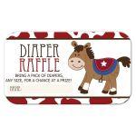 Western Horse Cowboy Boy Baby Shower Diaper Raffle Card