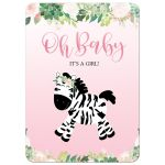 It's a Girl Pink Zebra Baby Shower Invitation