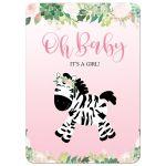 It's a Girl Pink Zebra Baby Shower Invitation