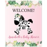 Pink Zebra Welcome Sign Girl Baby Shower Watercolor Floral