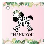 Pink Zebra Girl Baby Shower Thank you Tags