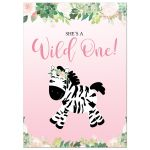 Wild One Girl Zebra Jungle 1st Birthday Invitations