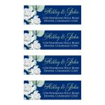 Elegant and classic navy blue and white rose wedding address labels