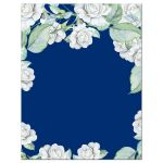Elegant and classic navy blue and white rose wedding save the date card back