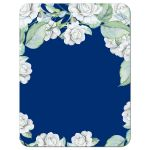 ​Elegant and classic navy blue and white rose wedding save the date card back