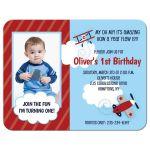 Boys 1st Birthday Airplane Invitation