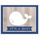 It's a Boy White Whale Baby Shower Invitation