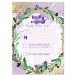 Bat Mitzvah RSVP Butterfly Greenery Watercolor Olive Wreath