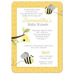 Gray and Yellow Bumble Bee Gender Neutral Baby Shower Invitation