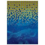 Blue gold pixelated digital techno space video game Bar Mitzvah invitation back