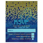​Blue gold pixelated digital techno space video game Bar Mitzvah RSVP card front