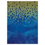 Blue gold pixelated digital techno space video game Bar Mitzvah reception party card back