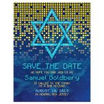 ​Blue gold pixelated digital techno space video game Bar Mitzvah save the date announcement front