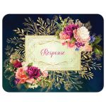 ​Victorian floral wedding RSVP enclosure card insert in teal, navy blue, green, and gold colors with roses, peonies and assorted flowers, greenery, and foliage for a fall, autumn, or winter wedding with old world European style.