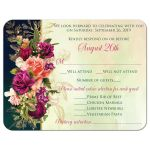 ​Victorian floral wedding response enclosure cards in teal, navy blue, green, and gold colors with roses, peonies and assorted flowers, greenery, and foliage for a fall, autumn, or winter wedding with old world European style.