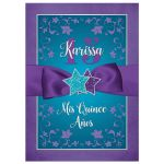 Purple, teal blue, and silver floral Quinceanera invitation with stars, ribbon, and glitter.