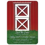 Fun, whimsical country farm red barn wedding save the date announcement