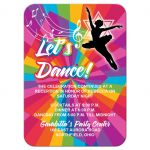 ​Dance, dancer, ballet Bat Mitzvah reception or party enclosure card invitation with funky rainbow stripes pattern in yellow, lime green, hot pink, turquoise blue, orange, red, and purple with a black silhouette of a dancer, white musical notes, and a Star of David.