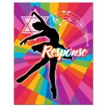 ​Dance, dancer, ballet Bat Mitzvah RSVP enclosure card insert with funky rainbow stripes pattern in yellow, lime green, hot pink, turquoise blue, orange, red, and purple with a black silhouette of a dancer, white musical notes, and a Star of David.
