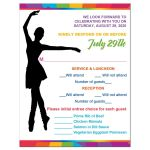 ​Dance, dancer, ballet Bat Mitzvah response enclosure cards insert with funky rainbow stripes pattern in yellow, lime green, hot pink, turquoise blue, orange, red, and purple with a black silhouette of a dancer, white musical notes, and a Star of David.