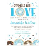 Sprinkled with Love Boy Donut Baby Shower Sprinkle Invitation