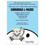 Polar Bear Ice Hockey Boy Baby Shower Invitation