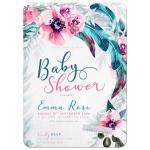 Flowers & Feathers Boho Baby Shower Invitation