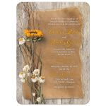 ​Beautiful dried sunflower and daisies rustic autumn wedding invitation front