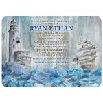 Unique lighthouse, boat, crashing waves rustic nautical Bar Mitzvah invitation front