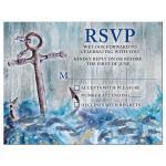Unique anchor, fish, crashing waves rustic nautical Bar Mitzvah RSVP card front