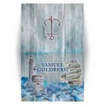 Unique lighthouse, boat, anchor crashing waves rustic nautical Bar Mitzvah thank you card front back