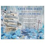 Unique sailing ship, ship's wheel, anchor and ocean waves rustic nautical Bar Mitzvah save the date announcement front