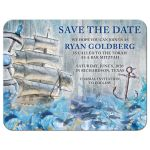​Unique sailing ship, ship's wheel, anchor and ocean waves rustic nautical Bar Mitzvah save the date announcement front