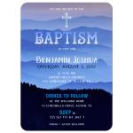 Nature Blue Hills Baptism Invitation Card