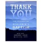 Nature Outdoors Blue Hills Baptism Thank You card