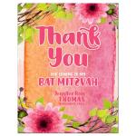 Pink Flowers Watercolor Bat Mitzvah Thank You